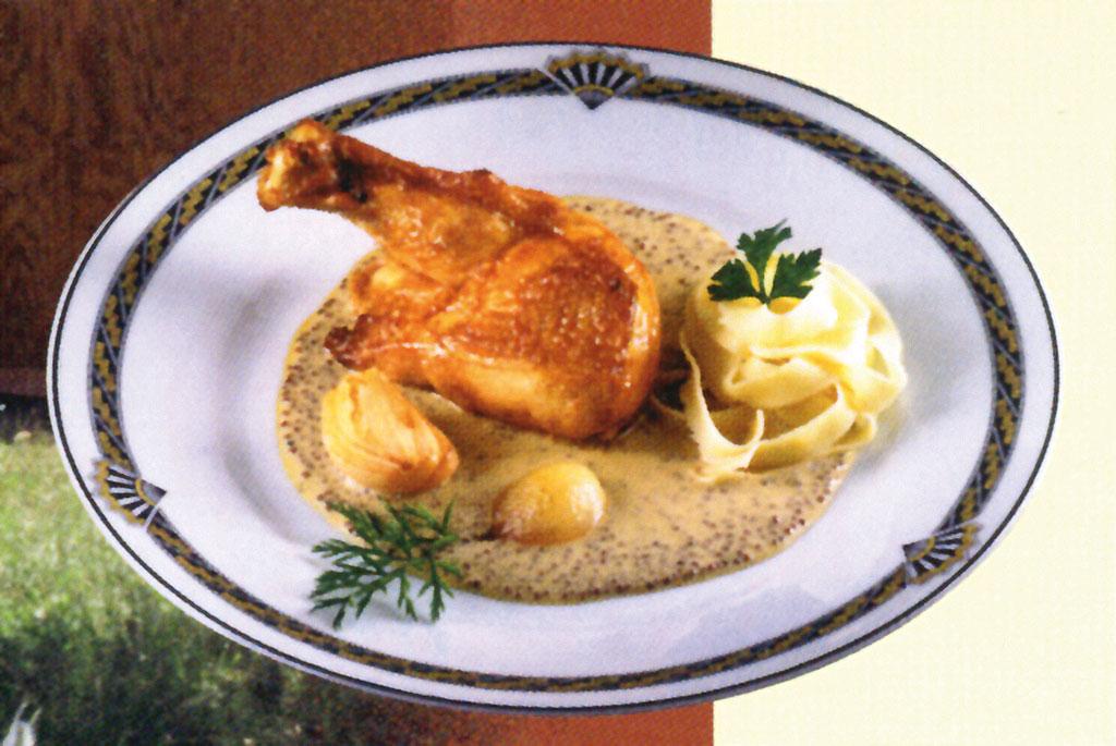 Poulet Bourbonnais, sauce à la moutarde de Charroux