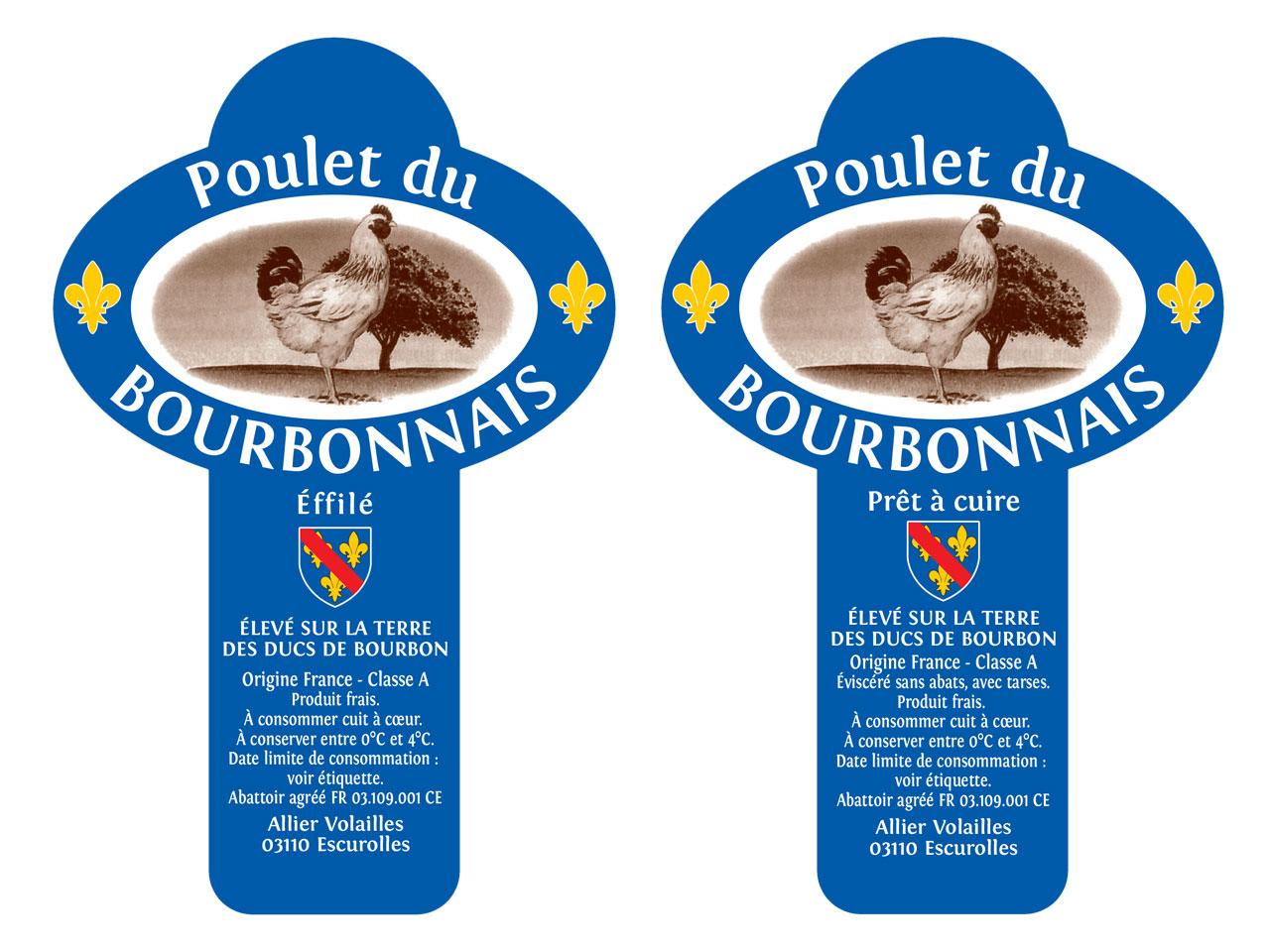 étiquettes du poulet du bourbonnais